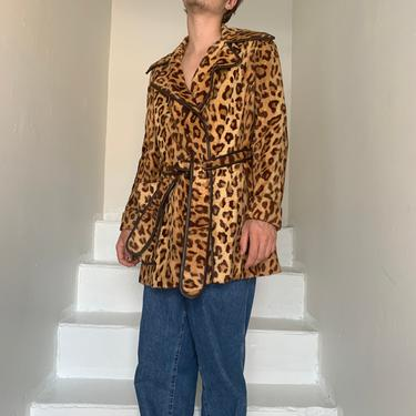 Iconic 1970s Big Collar Belted Leopard Faux Fur Jacket With Leather Trim Size Medium Vintage by AmalgamatedShop
