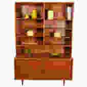 Danish Teak 2-Pc Bookcase Top w\/ Extra-Deep Storage Cabinet