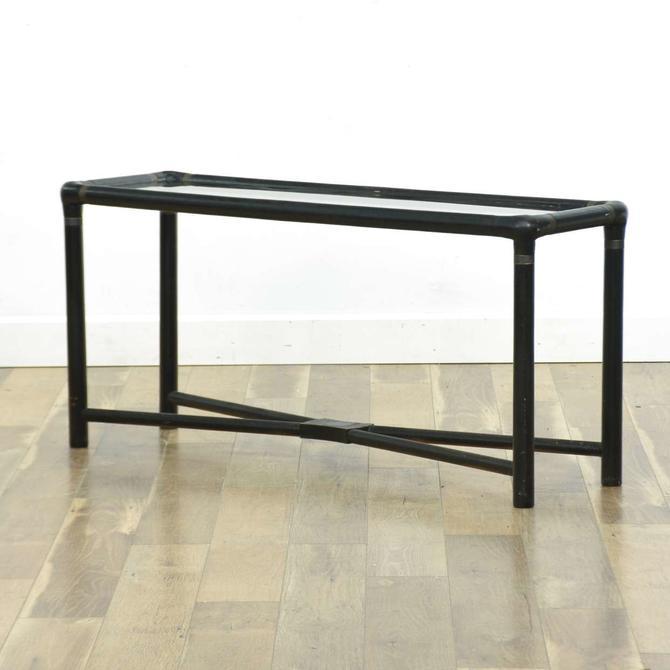 Modernist Black Stretcher Frame Console Table