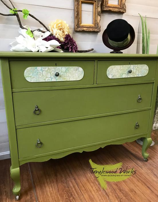 Vintage Wood Dresser Hand Painted in Olive Green