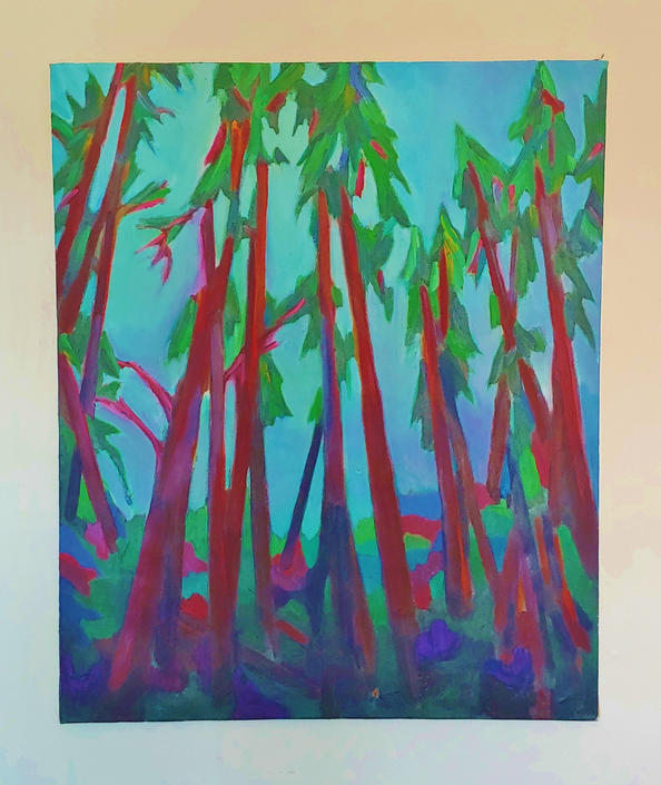 Original Oil Painting Abstract Forest by Richard Youniss by ModandOzzie