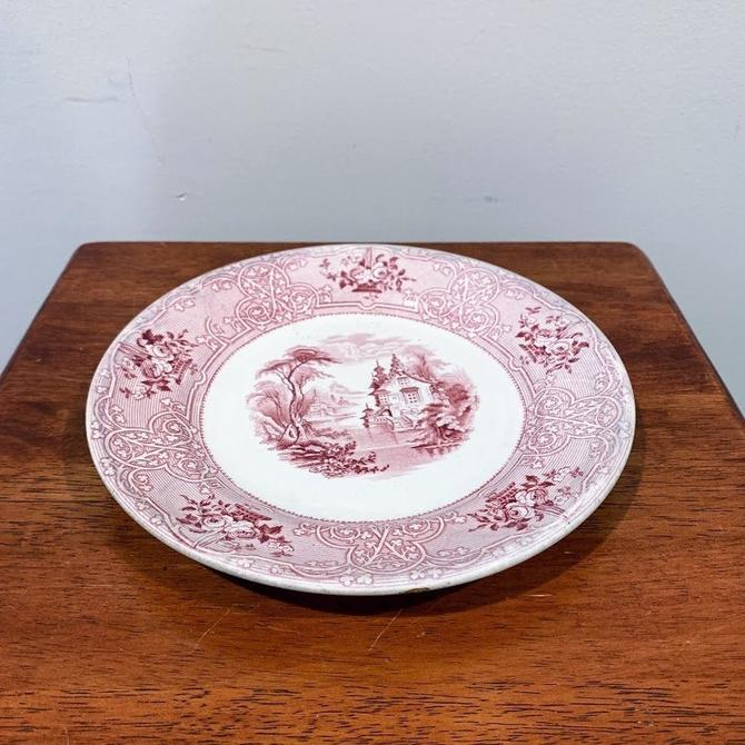 Antique Ironstone Red/Pink Transferware John Meir & Sons Roselle Plate by OverTheYearsFinds