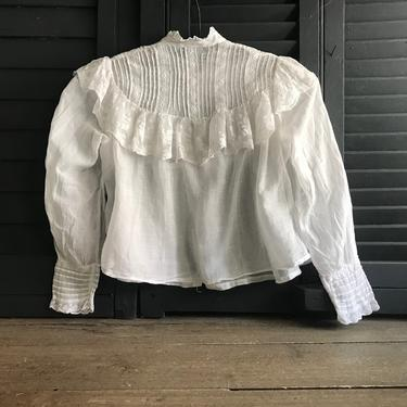 French Edwardian Blouse, White Batiste, Broderie Anglaise, Lace Trim, Period Clothing by JansVintageStuff