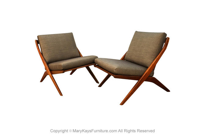 Mid Century Modern Folke Ohlsson Dux Scissor Lounge Chairs Pair by Marykaysfurniture