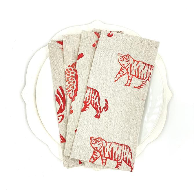 *Mix & Match Napkins in Ruby on Oatmeal Linen (Set of 4)