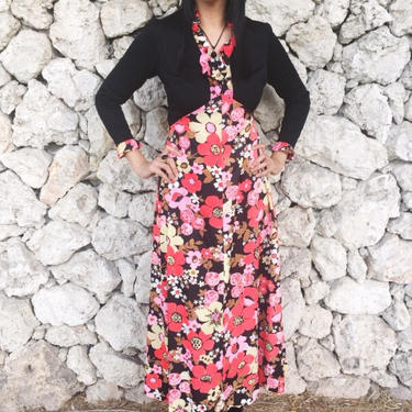 Vintage 60s Mod Black Crepe & Floral Silky Polyester Empire Waist Long Sleeve Psychedelic Maxi Dress S // M by ModlipsRevival
