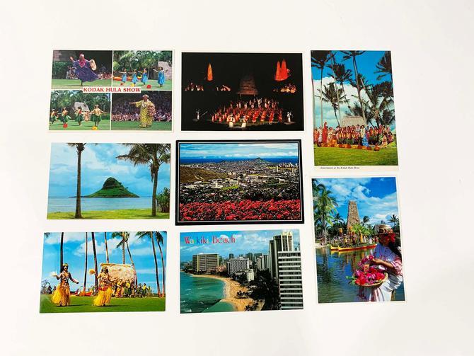Vintage Hawaii Souvenir Postcards NOS Post Card Ephemera Travel Orchid Island Hilo Tiki Hawaiian Vacation Beach Set of 8 1970s 1980s by CheckEngineVintage