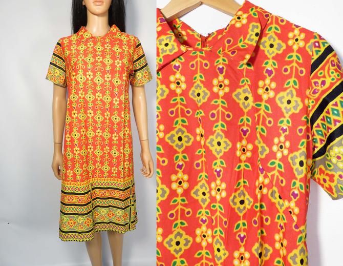 Vintage 60s Mod Bright Floral Print Dress Size S by VelvetCastleVintage