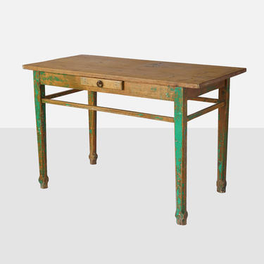 Vintage Mexican Wood Work Table Furniture Painted 1950