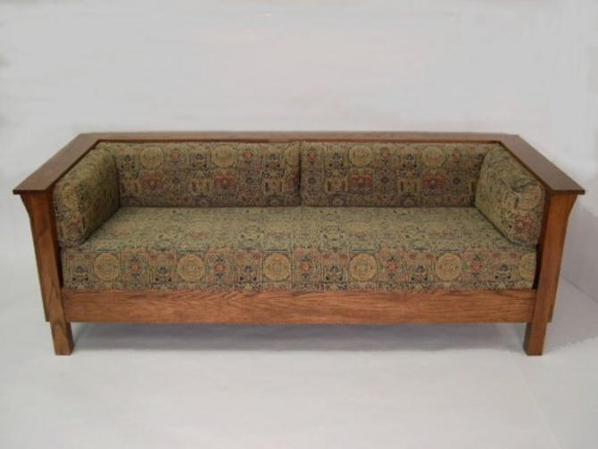 Mission Arts and Crafts Stickley Style Prairie Panel Settle Sofa by DaleMartinFurniture