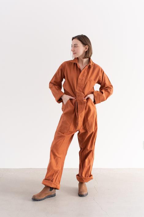 Vintage Overdye Carrot Orange Coverall | Jumpsuit | Flight Suit Studio Ceramic Painter Onesie | Boilersuit by RAWSONSTUDIO