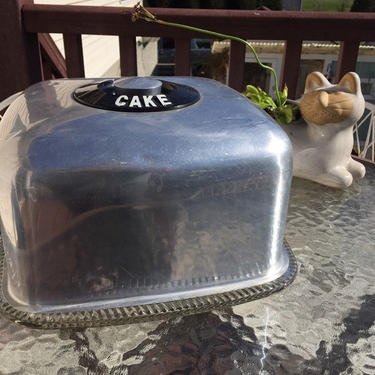 Kromex Aluminum Cake dome with glass plate by MadModWorldVintage