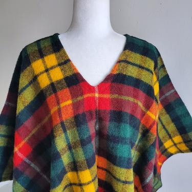 1970s Plaid Wool Poncho Unworn Vintage Hippie Cozy Outerwear by AmalgamatedShop