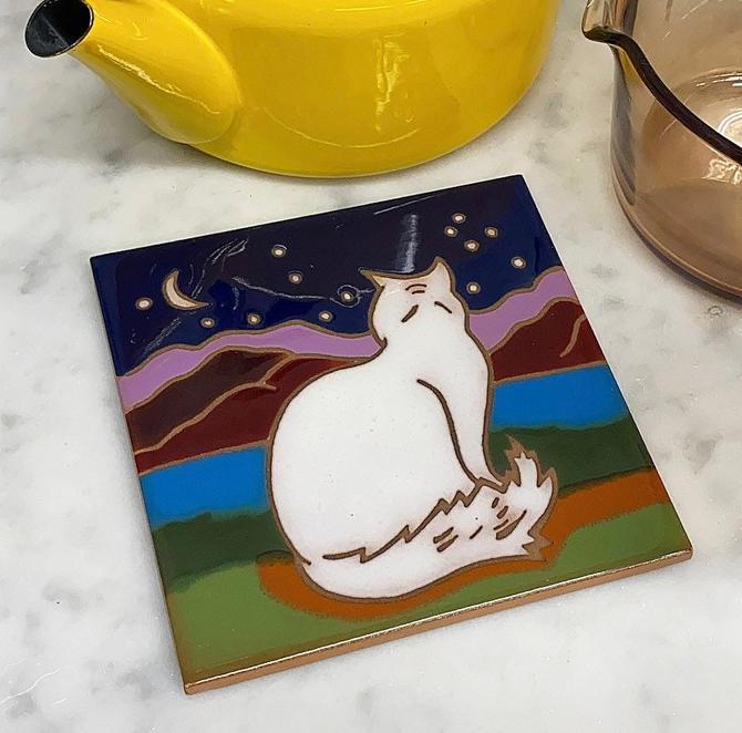 Vintage Trivet 1980s Retro Southwestern + Santa Fe Art Tile + Moon Cat + Ceramic + Painted Glaze Finish + Kitchen Decor + Made in italy by RetrospectVintage215