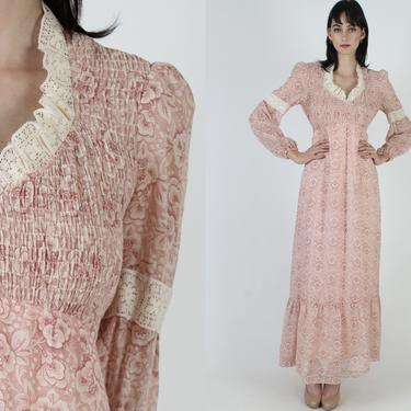 Vintage 70s Pink Floral Smocked Dress / Long Tiered Floral Skirt Dress / 1970s Lace Ruffle Prairie Field Maxi Dress by americanarchive