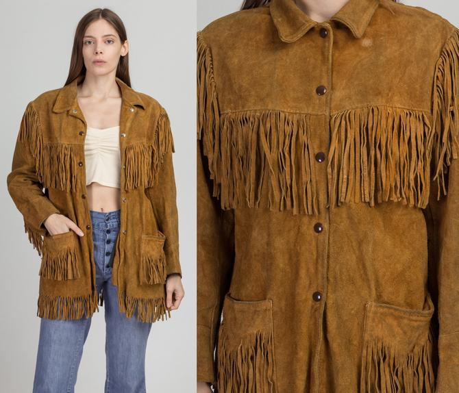 1960s Southwestern Brown Suede Fringe Jacket - Men's XS, Women's Small | Vintage Bay River Boho Hippie Leather Coat by FlyingAppleVintage