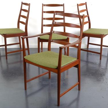 Set of 4 Mid Century Danish Modern Contoured Ladder Back Dining Chairs in Teak by Torbjorn Afdal for Vamo by ABTModern