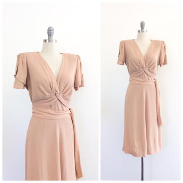 FINAL PAYMENT /// 40s Peachy Nude Crepe Dress / 1940s Vintage Hawaiian Dress / Medium / Size 8 by CheshireVintageShop