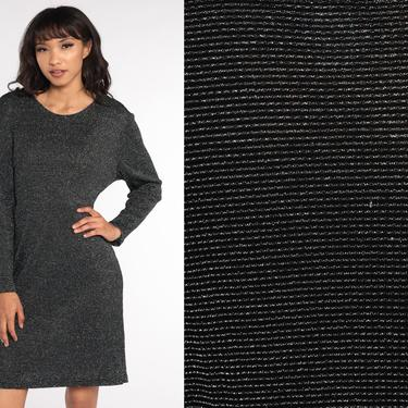 Metallic Black Dress 80s Mini Dress Silver Metallic Party Boho Shift 70s Disco Dress Hippie Vintage Long sleeve Minidress Extra Large xl by ShopExile