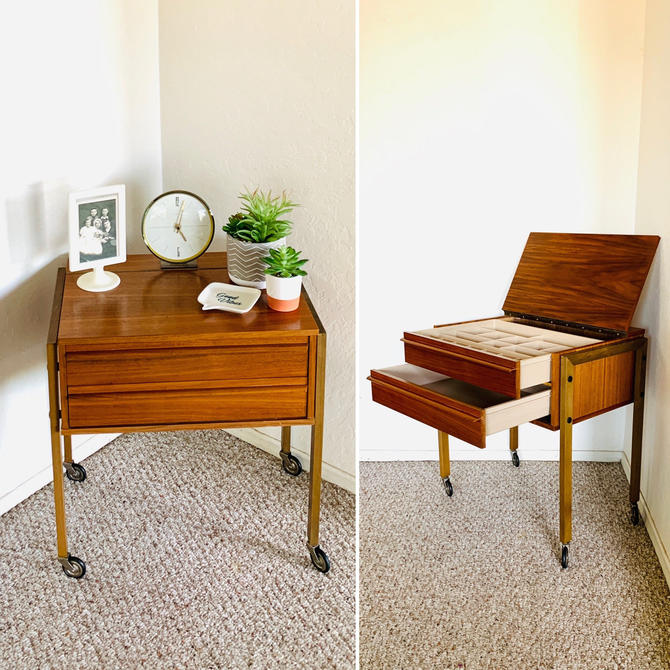 Teak Sewing Table, Sewing Box, Mid Century Sewing Table, Rolling Cart, Jewelry Box, nightstand, Knitting Box Vintage, Organizer Vintage by dadacat