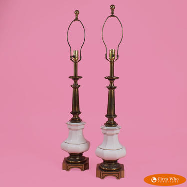 Pair of Pagoda Table Lamps By Stiffel