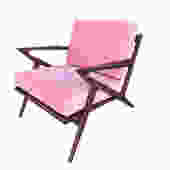 Solid Walnut Velvet in Baby Pink Z Chair by VintageOnPoint