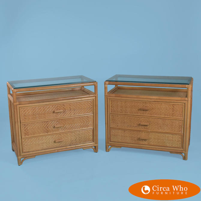 Pair of Rattan & Cane Glass Top Chests