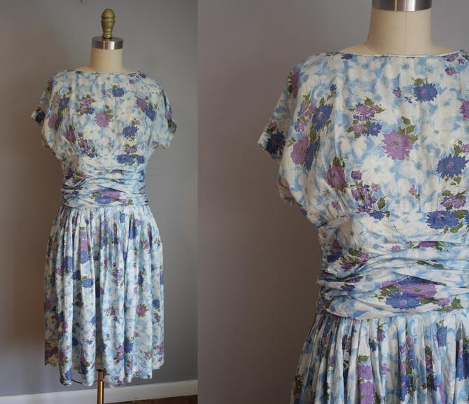 1950s Party Dress // Blue and Purple Floral Print // Small by LawrenceOfBaltimore