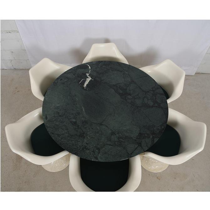 Eero Saarinen Knoll Marble Top Tulip Dining Table Set w/ 6 Arm Chairs