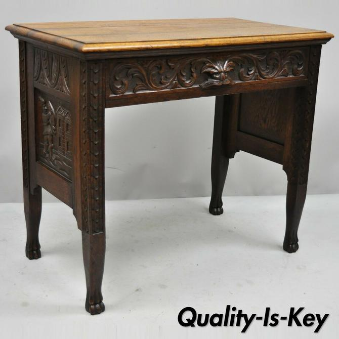 Black Forest Carved Oak Jacobean Small Writing Desk Table w/ Northwind Face