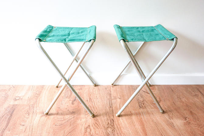 Set of 2 Green Vintage Metal and Canvas Folding Camping Stools (Sold as a Set) by PortlandRevibe