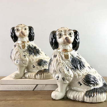19th Century English Staffordshire Dogs Black and White Ceramic Figurine Antique Mantelpiece Genuine PRISTINE by ArchiveHomeVintage