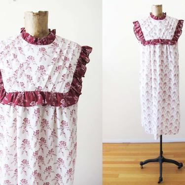 Vintage 70s Prairie Dress S M - 1970s Calico Floral Sundress - Ruffle Neck Cotton Dress - High Neck 70s Dress - Cottage Core by MILKTEETHS