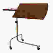 Danish Mid Century Rolling Walnut Adjustable Music / TV Tray Stand