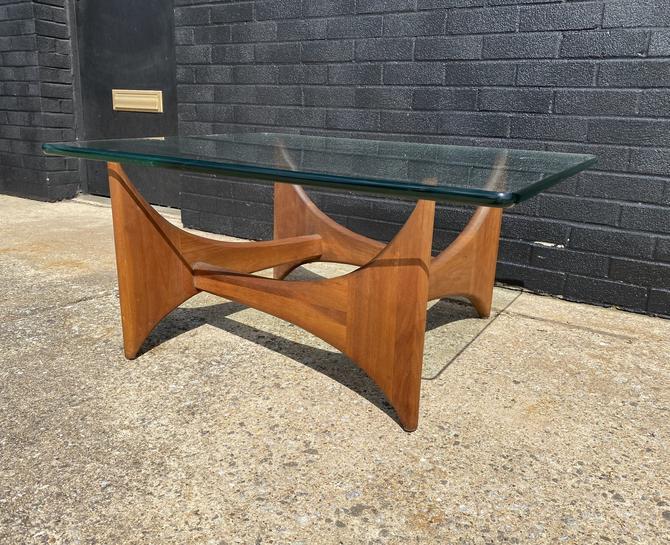 Mid Century Sculptural Walnut Base Coffee table