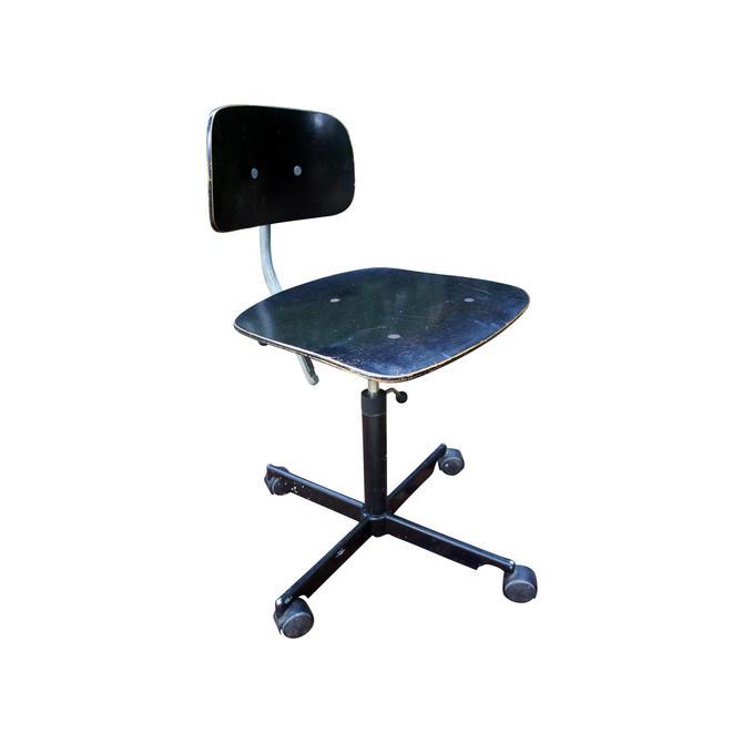 Mid Century Modern Jørgen Rasmussen for Rabami Danish Black Kevi Swivel Desk Task Chair by MetronomeVintage