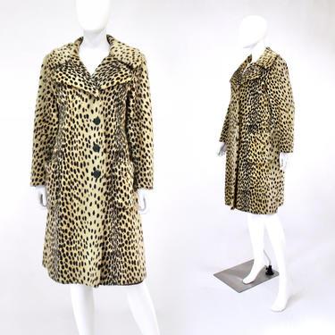 1960s Leopard Print Faux Fur Coat - Vintage Leopard Print Coat - Mid Century Leopard Print Coat - Faux Fur Leopard Print Coat   Size Medium by VeraciousVintageCo