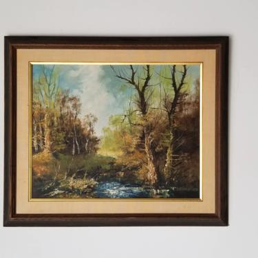 1960s Impressionist Style River Landscape Oil Painting, Framed. by MIAMIVINTAGEDECOR