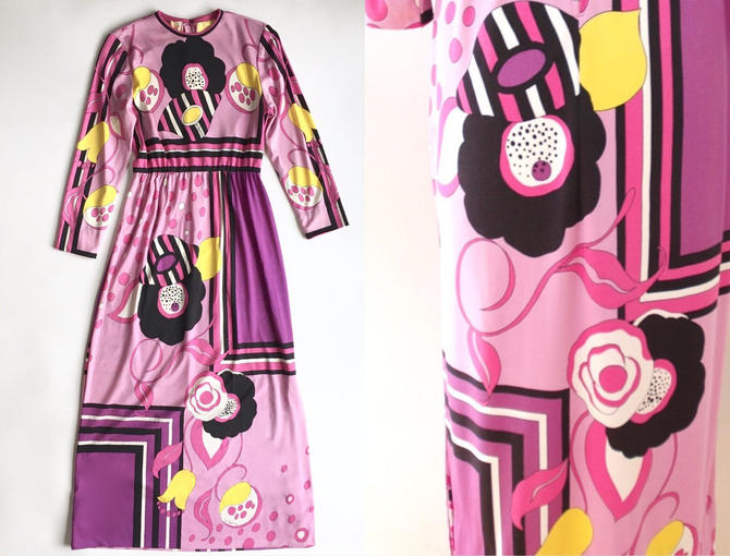1960s 1970s Paganne Pink Abstract Print Maxi Dress by hemlockvintage