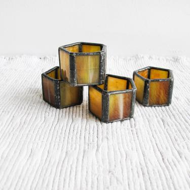 Set of 4 Hand Crafted Amber Stained Glass Hexagon Napkin Holders by PortlandRevibe