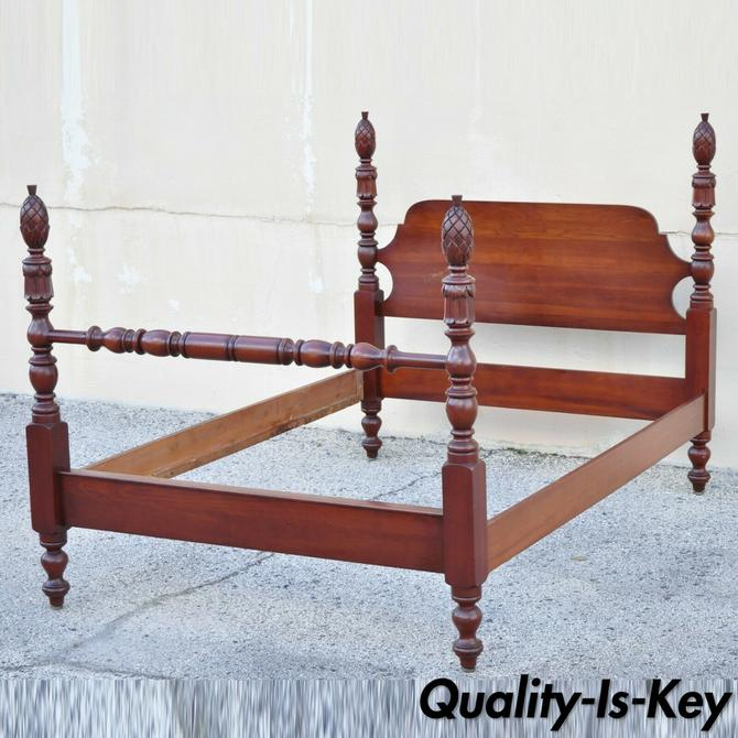 Vintage Solid Cherry Wood Colonial Pineapple Acorn Finial Full Size Bed Frame