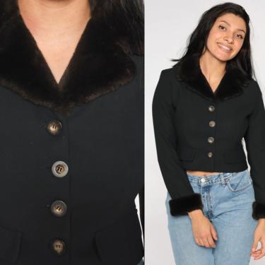 Faux Fur Trim Blouse Black Crop Top BUTTON UP Shirt 90s Laundry by Shelli Segal Blouse Vintage Plain 1990s Retro Long Sleeve Shirt Small 4 by ShopExile
