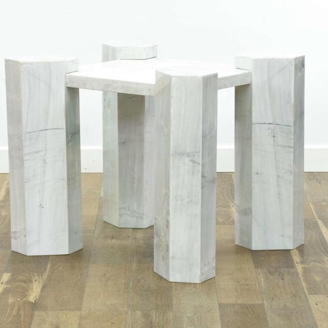 Modernist White Marble Column End Table