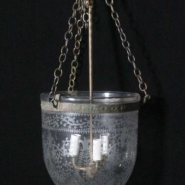 Antique Victorian 9 in. Etched Glass Bell Jar Pendant Light