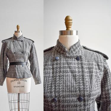 Slick Vintage Gray Herringbone Wool Jacket by milkandice