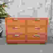 Vintage 6 Drawer Drexel Dresser Refinished in Rust Orange with Original Brass Ha