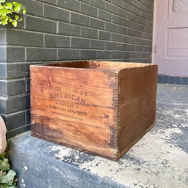 1920s American Cyanamid Company Explosives Crate Permissible Wooden Finger Jointed Wooden Rusitc Primitive Box Antique Coal Mining by BrainWashington