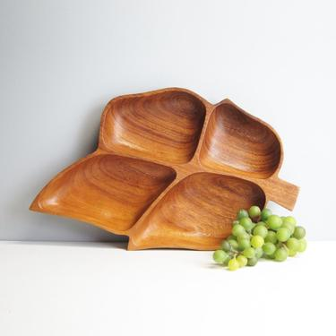 Monkey pod leaf serving tray - four sections - 1960s vintage by NextStageVintage