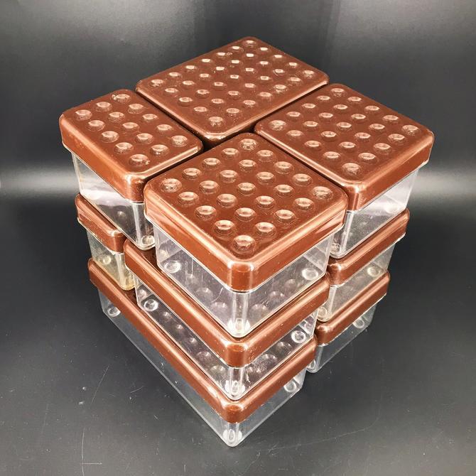 Vintage 1980s Kubus Plastic Box Desk Organizer Container Lid Lidded Wilhelm Wagenfeld Re-Interpretation Mid-Century Modular Tupperware Dots by BrainWashington