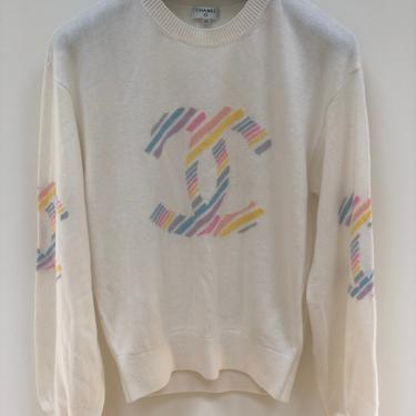 Vintage 90's CHANEL Cashmere Huge CC Logo Monogram RAINBOW Multicolor Knit Sweater Blouse Top - Rare! Eu 40 by MoonStoneVintageLA
